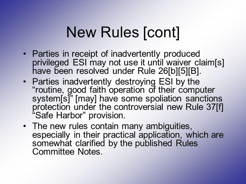 New Rules [cont]